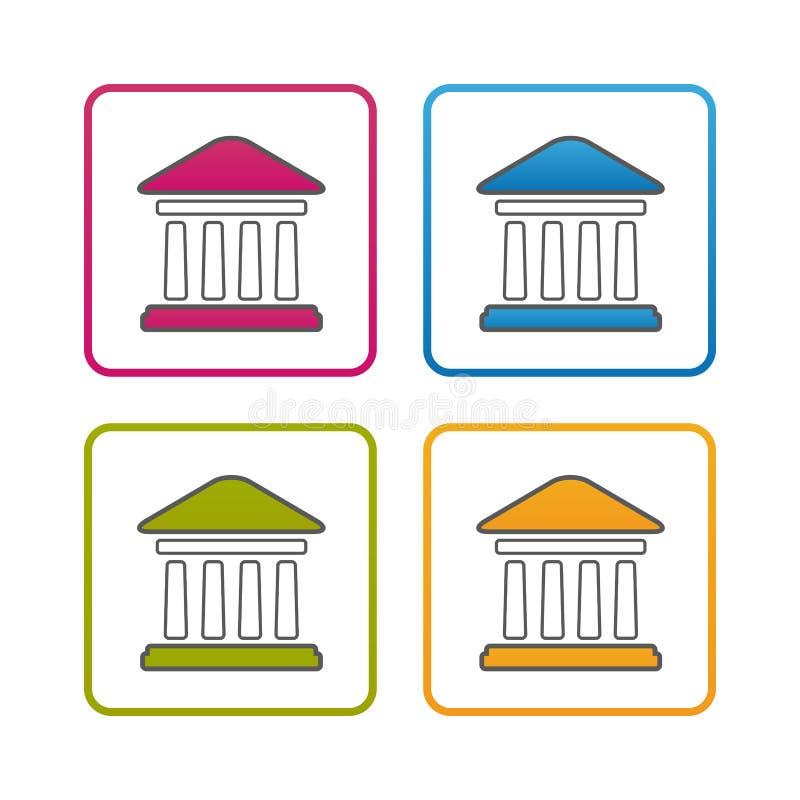 Edificio de banco - esquema diseñó el icono - movimiento Editable - ejemplo colorido del vector - aislado en el fondo blanco libre illustration