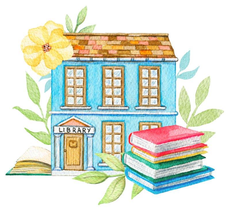 Edificio de biblioteca azul de la historieta de la acuarela en flores con la pila de libros stock de ilustración
