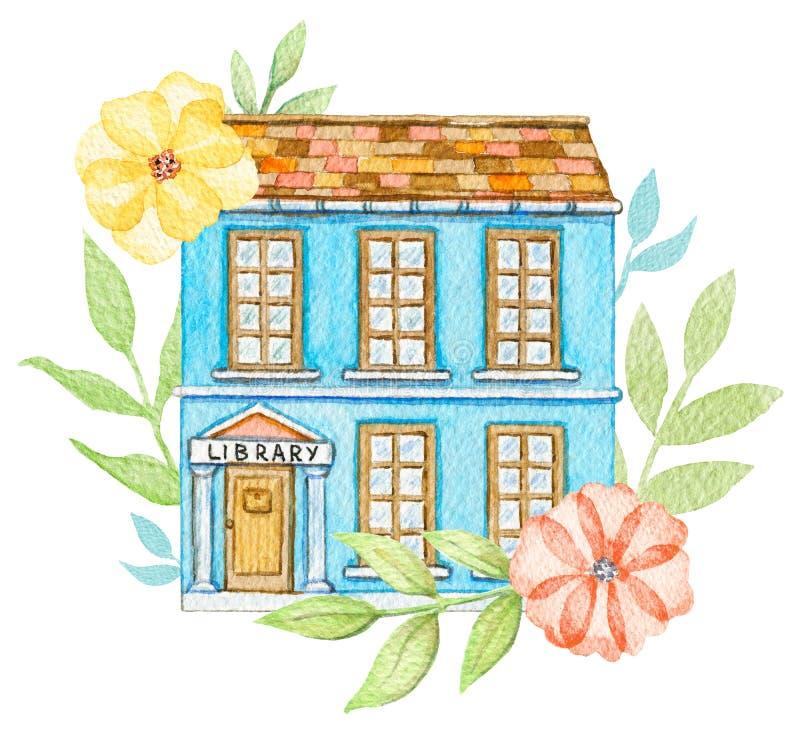 Edificio de biblioteca azul de la historieta de la acuarela en flores stock de ilustración