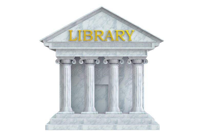 Edificio de biblioteca con las columnas stock de ilustración
