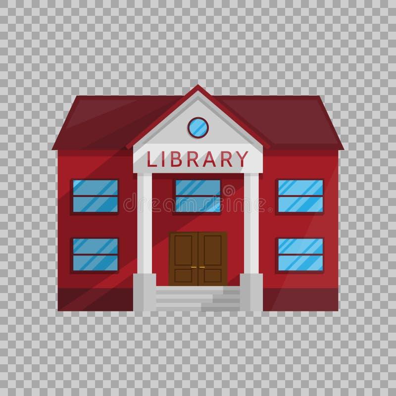 Edificio de biblioteca en estilo plano aislado en el ejemplo transparente del vector del fondo ilustración del vector