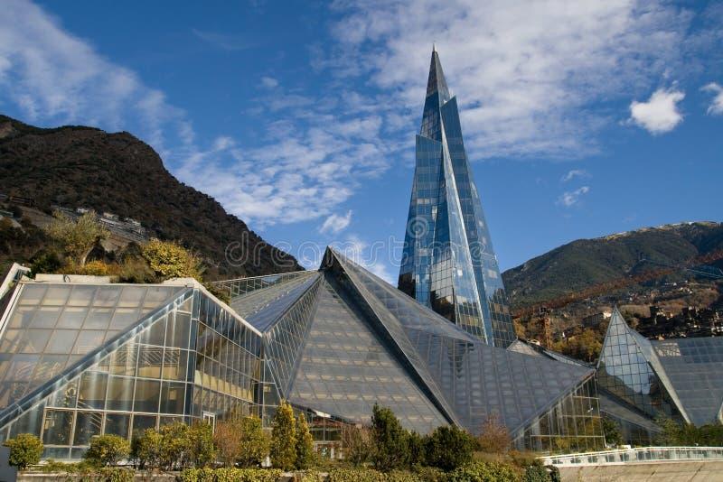 Edificio de cristal en Andorra imagenes de archivo