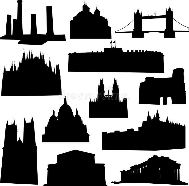 Edificio de Europa stock de ilustración
