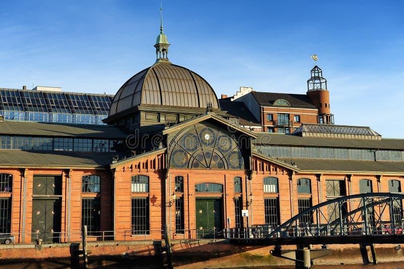 Edificio de Fischmarkt (mercado de pescados), Hamburgo, Alemania imagen de archivo libre de regalías