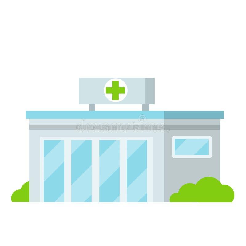 Edificio de hospital con cruz verde fotos de archivo