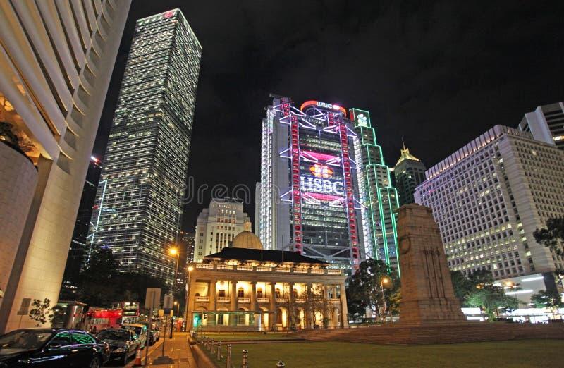 Edificio de HSBC, centro de Cheung Kong y corte de los edificios de la súplica final (CFA) en Hong Kong por la noche, área centra fotos de archivo libres de regalías