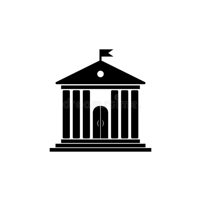 Edificio de la administración con la bandera stock de ilustración