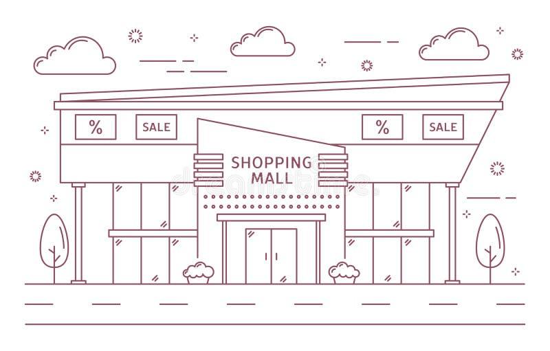 Edificio de la alameda de compras stock de ilustración