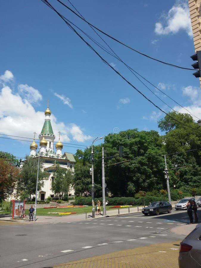Edificio de la arquitectura en Sofía - verano 2015 foto de archivo