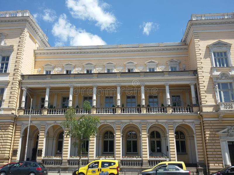 Edificio de la arquitectura en Sofía - verano 2015 imagenes de archivo