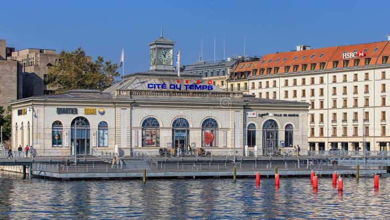 Edificio de La Cite du Temps en Ginebra, Suiza foto de archivo