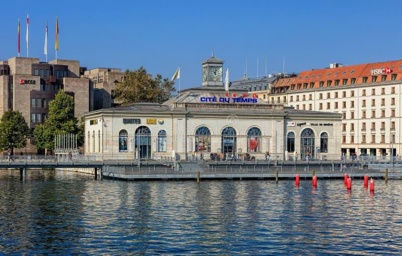 Edificio de La Cite du Temps en Ginebra, Suiza fotografía de archivo