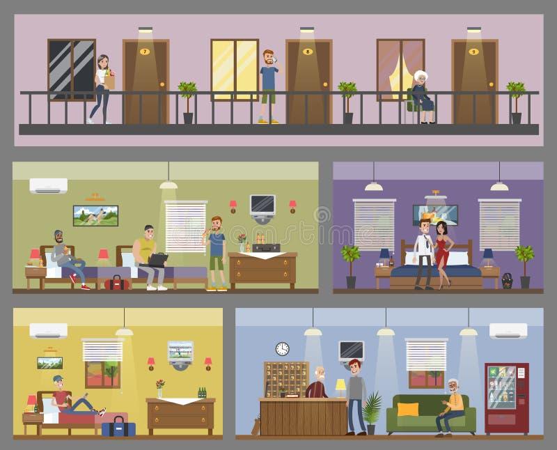 Edificio de la ciudad del motel stock de ilustración
