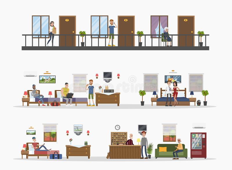 Edificio de la ciudad del motel ilustración del vector