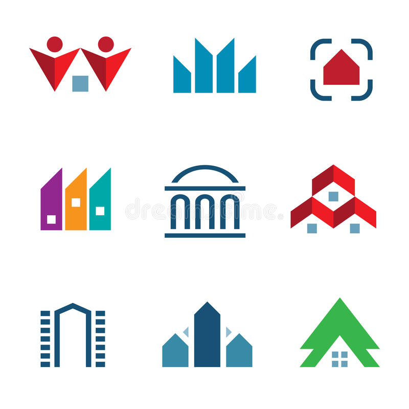 Edificio de la construcción de las propiedades inmobiliarias en icono del logotipo del centro de la comunidad de la ciudad libre illustration