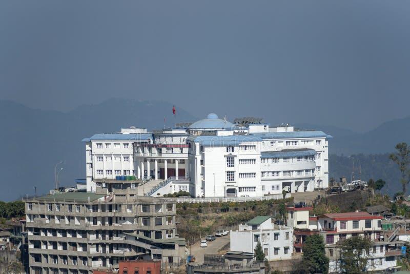 Edificio de la Corporación Nagaland, festival Hornbill, Nagaland, India fotografía de archivo libre de regalías