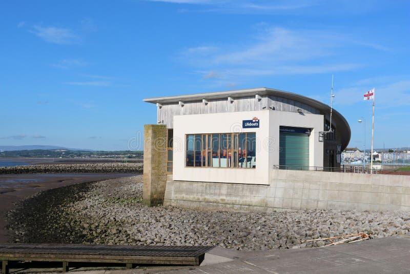 Edificio de la estación del bote salvavidas, Morecambe, Lancashire imagen de archivo
