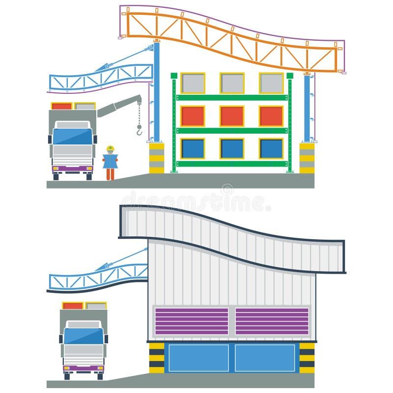 Edificio de la fábrica, almacén seccionado transversalmente, ejemplo del vector libre illustration