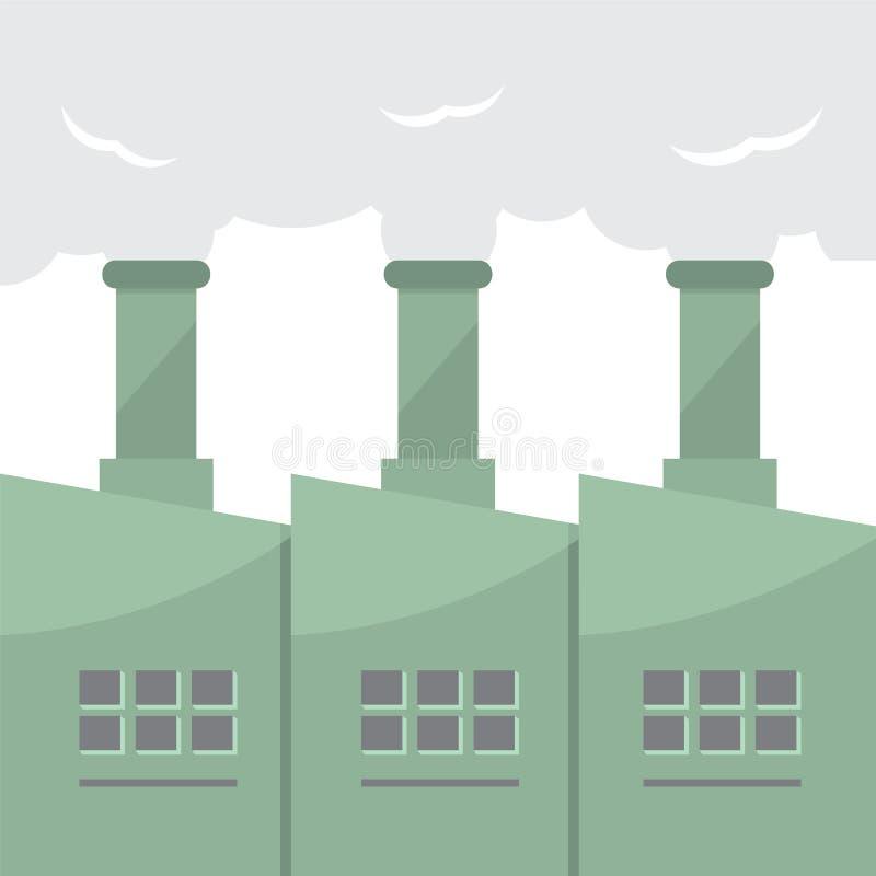 Edificio de la fábrica con las pilas de humo ilustración del vector