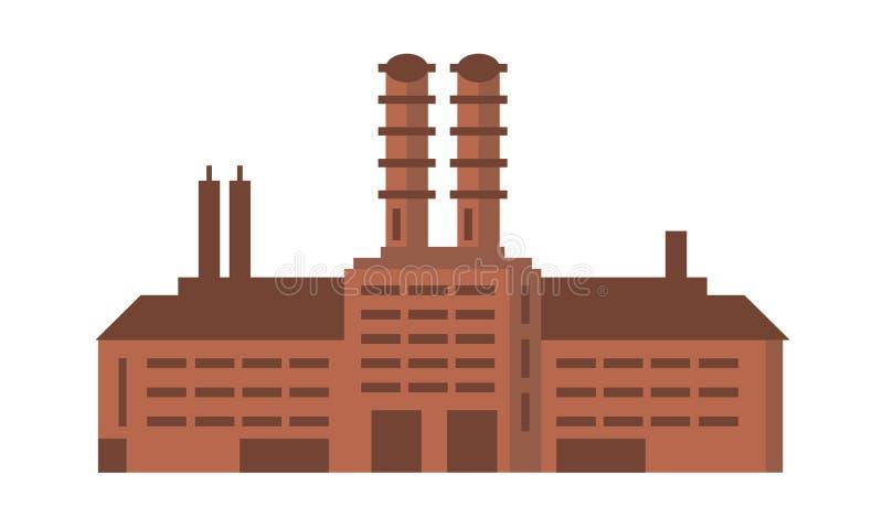 Edificio de la fábrica de la fabricación Ejemplo plano del vector industrial ilustración del vector