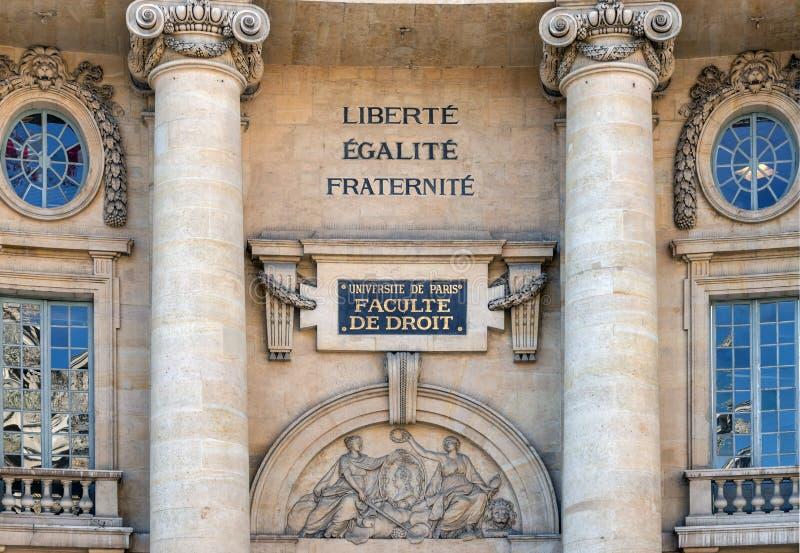 Edificio de la facultad de derecho de Sorbonne, universidad de París imagen de archivo