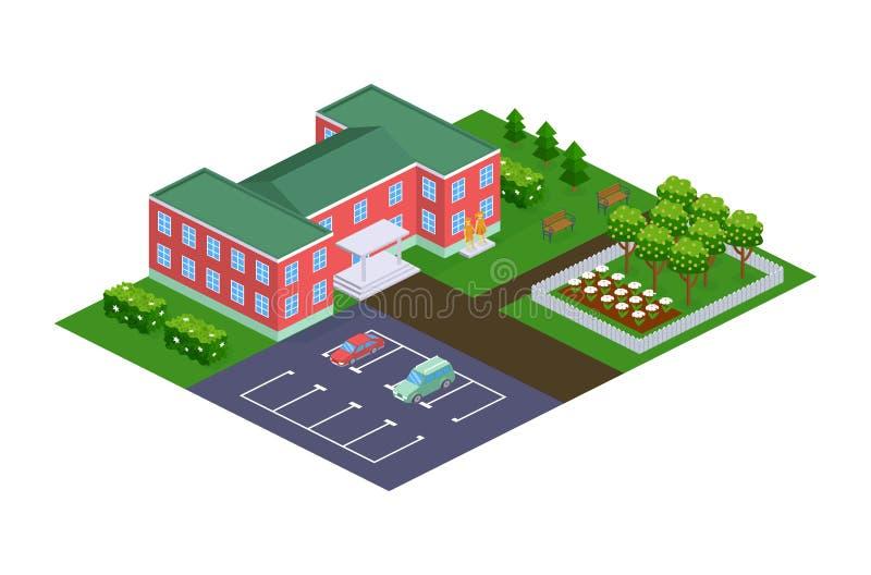 Edificio de la guardería con el territorio adyacente, patio, parque stock de ilustración