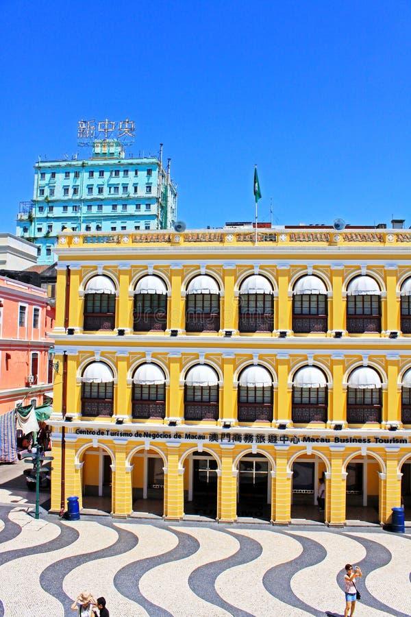 Edificio de la herencia del cuadrado de Senado, Macao, China fotos de archivo