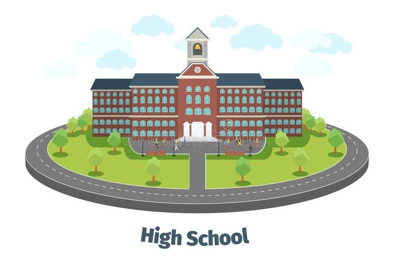 Edificio de la High School secundaria o de la universidad educativo stock de ilustración