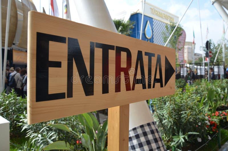 Edificio de la informaci?n para la expo 2015 en Mil?n imagen de archivo