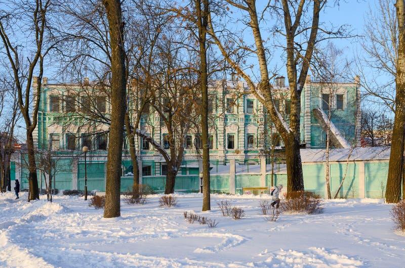 Edificio de la sociedad anónima abierta Polespechat, Gomel, Bielorrusia fotografía de archivo