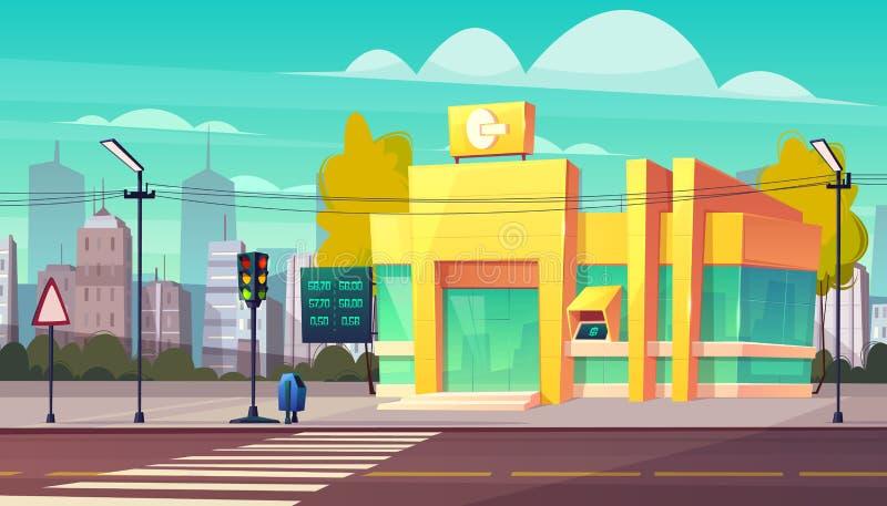 Edificio de la sucursal bancaria en vector de la historieta de la calle de la ciudad ilustración del vector
