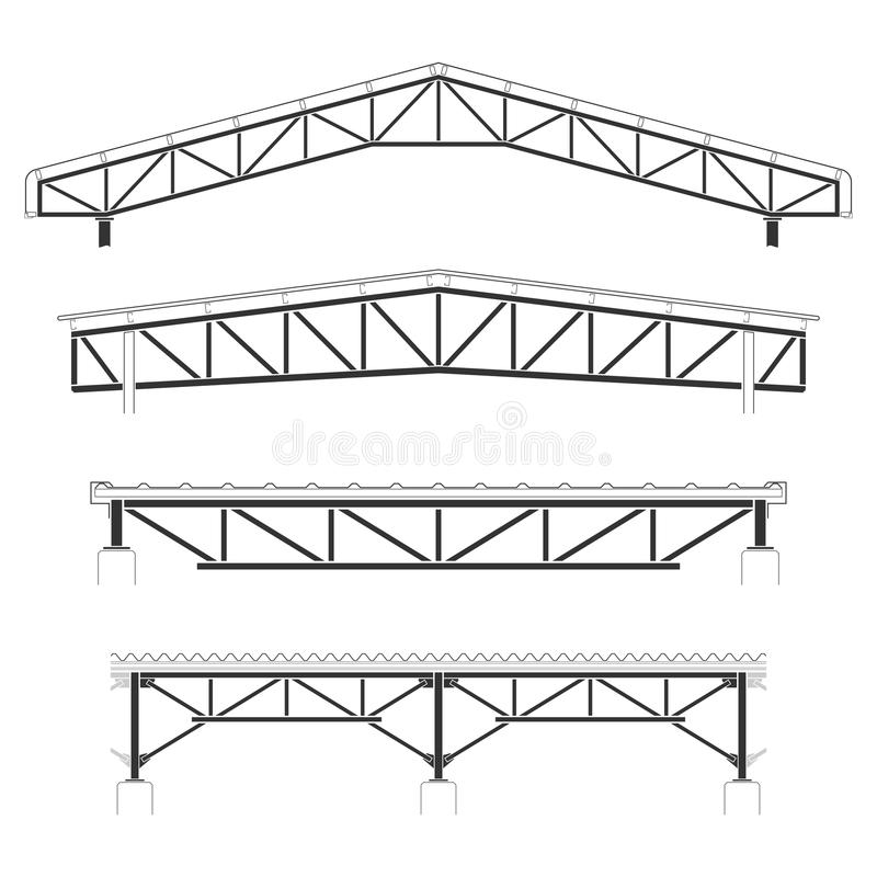 Edificio de la techumbre, cubierta de marco de acero, sistema del braguero del tejado, ejemplo del vector ilustración del vector