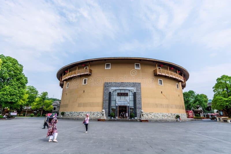 Edificio de la tierra del Hakka de la ciudad antigua de Luodai de la señal de Chengdu, China imagen de archivo