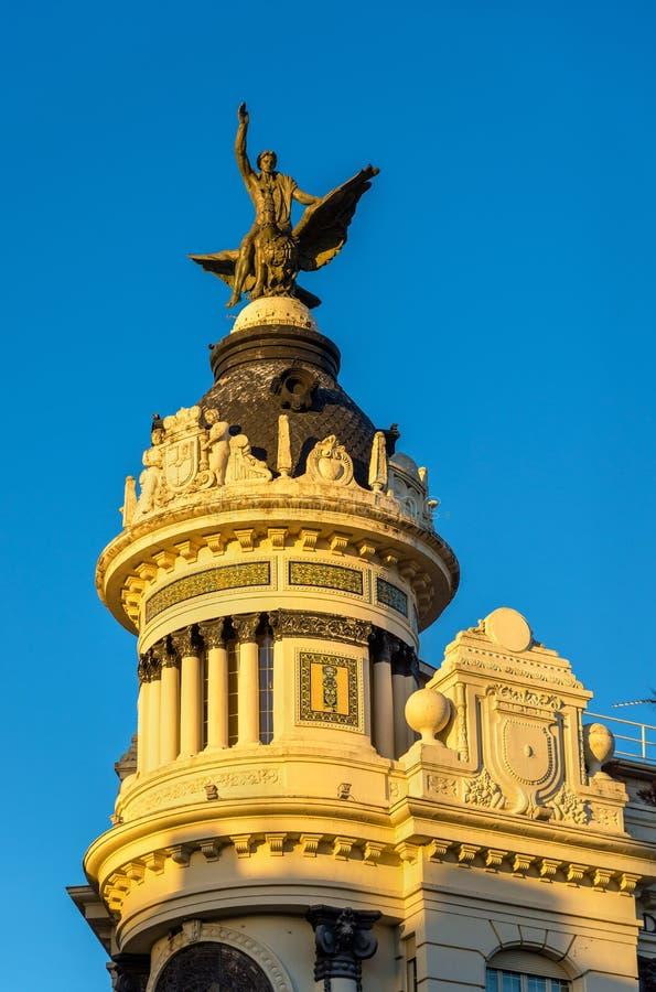 Edificio de la Union y el Fenix, en historisk byggnad i Cordoba, Spanien Byggt i 1927 royaltyfria bilder