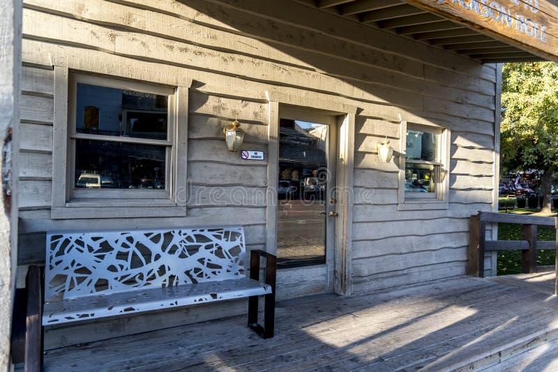 Edificio de madera Jackson Town Square Jackson Wyoming imagen de archivo