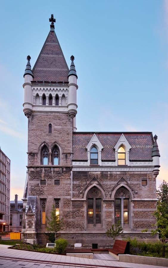 Edificio de Morrice Pasillo de la universidad de Mcgill, universidad presbiteriana anterior en la calle de McTavish en Montreal,  fotografía de archivo