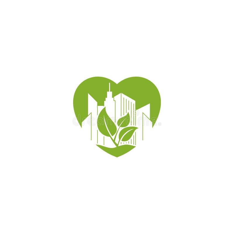 Edificio de oficinas abstracto en la hoja verde en el logotipo del icono de la forma del amor stock de ilustración