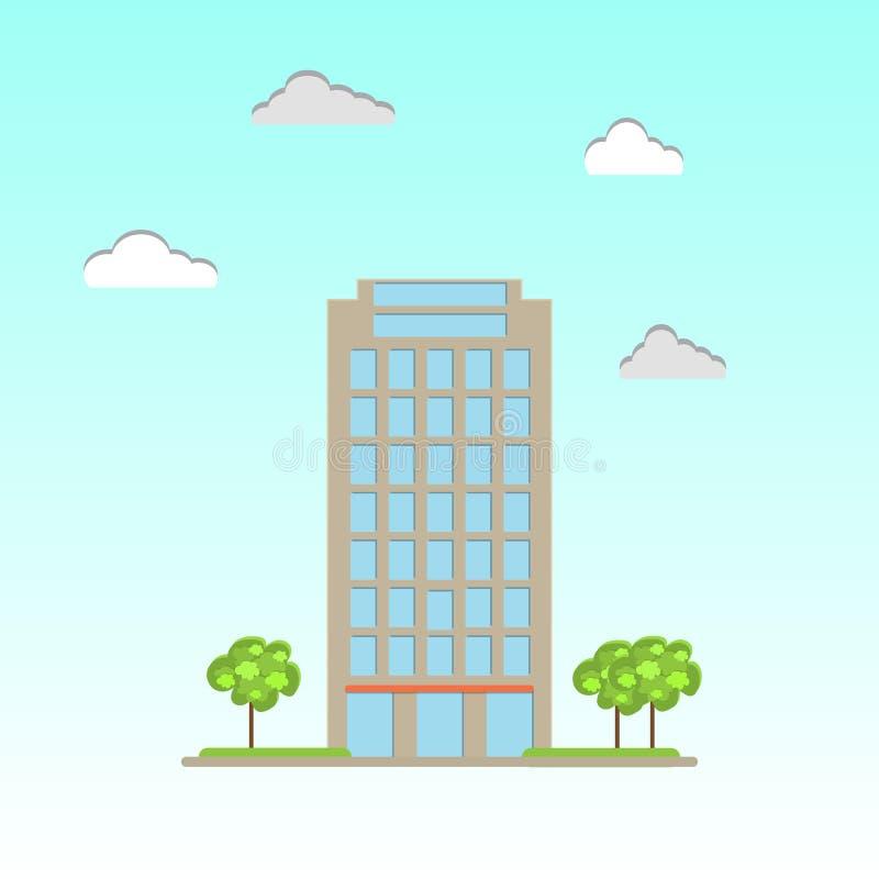 Edificio de oficinas comercial moderno stock de ilustración