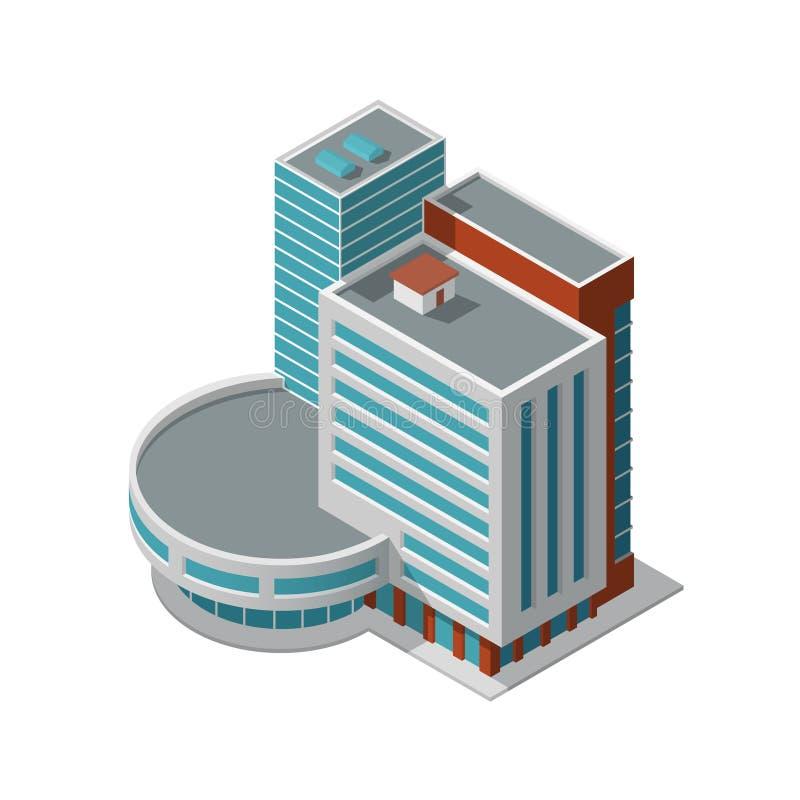 Edificio de oficinas isométrico stock de ilustración
