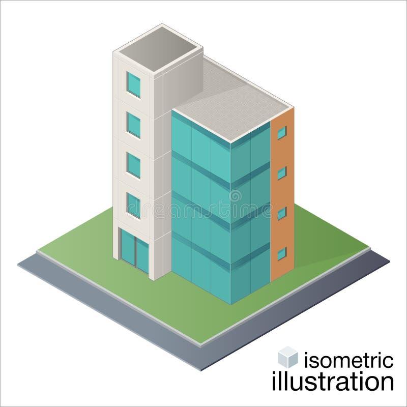 Edificio de oficinas isométrico moderno, centro de negocios stock de ilustración