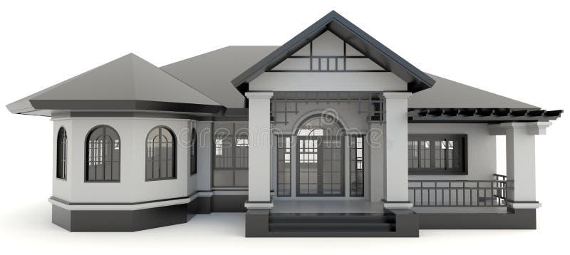 Edificio de oficinas moderno rojo 3D exterior en blanco stock de ilustración