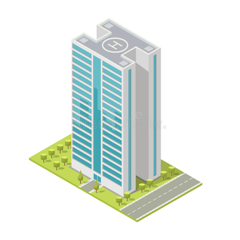 Edificio De Oficinas Realista, Rascacielos Isométrico, Apartamentos ...