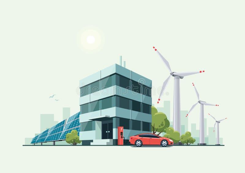 Edificio de oficinas verde de Eco con los coches eléctricos, los paneles solares stock de ilustración