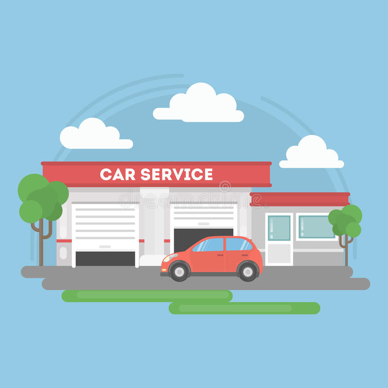Edificio de servicio del coche libre illustration