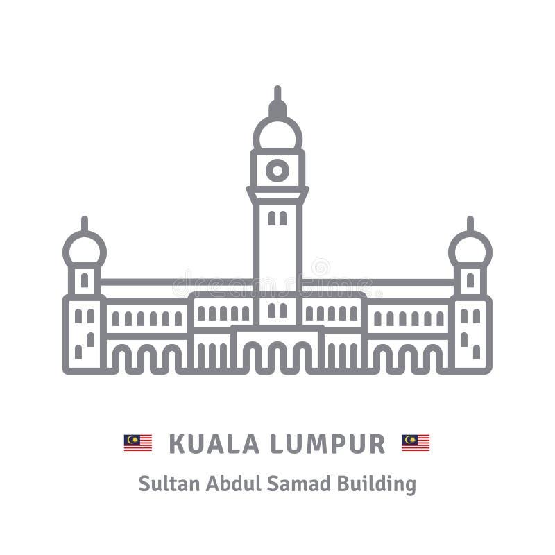 Edificio de Sultan Abdul Samad, Kuala Lumpur stock de ilustración