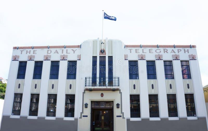 Edificio de Daily Telegraph del estilo de Art Deco tomado en octubre de 2015 en Napier, Nueva Zelanda imagenes de archivo