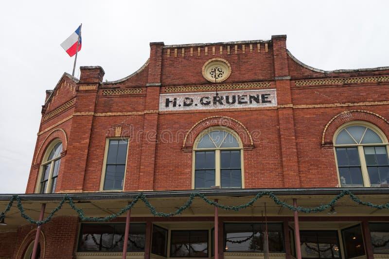 Edificio de tienda general victoriano del estilo del ladrillo en Gruene Tejas imágenes de archivo libres de regalías