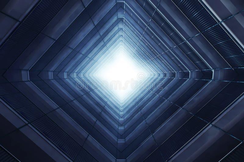 Edificio de varios pisos dentro ilustración del vector