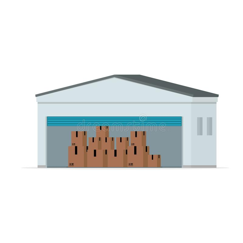 Edificio de Warehouse con la puerta abierta ilustración del vector