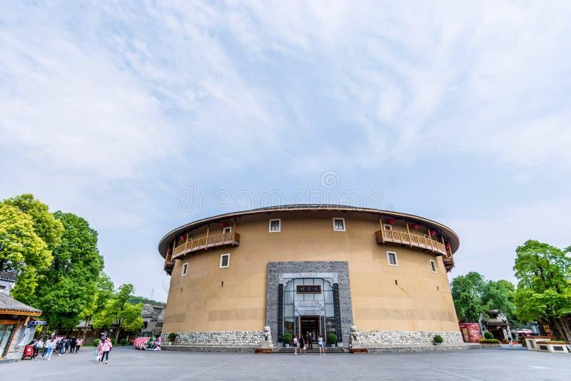 Edificio del blog de la ciudad antigua de Luodai de la señal de Chengdu, China fotos de archivo